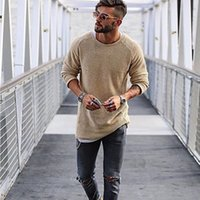 свитер случайные стройные мужчины оптовых-Mens Crew Neck Knitted Sweaters Man Casual Long Sleeved Tops Winter Slim Biker Streetwear Solid Color Sweaters Mens Clothes
