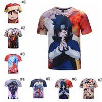 Wholesale wholesale anime fashion clothes - 3D Printing T-Shirts Dragon Ball One Piece Naruto Anime 3D Printed Tee Shirts Summer Clothing Kids Shirts 10pcs OOA4903