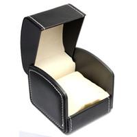 mode-displays großhandel-Top Ledermarke Uhrenbox Schwarz Uhr Aufbewahrungsbox Armband Vitrine Mode Verpackung Geschenkboxen A061