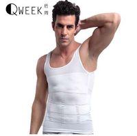 Wholesale elastic men undershirt resale online - QWEEK Men Slimming Underwear Body Shaper Waist Control Tops Tummy T Shirts Sleeveless Back Support Body Undershirt Elastic Tee