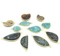 Wholesale Amazonite Jewelry - JLN Amazonite Labradorite Nautilus Connector Semi-Precious Stone For Necklace Bracelet Jewelry DIY Making