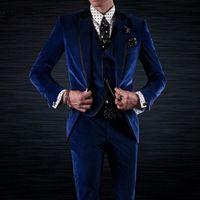 Wholesale royal blue velvet tuxedo resale online - Royal Blue Velvet Groom Tuxedos for Wedding Wear Three Piece Jacket Pants Vest Black Peaked Lapel Custom Made Party Men Suits