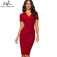 Wholesale Mature Briefs - Nice-forever Vintage Solid Color Mature Brief Wear to Work Ruffle vestidos Bodycon Office Business Sheath Women Dress B433