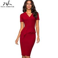 calzoncillos maduros al por mayor-Niza-para siempre Color sólido Vintage Brief Wear to Work Ruffle vestidos Bodycon Office Business vaina Vestido de mujer B433