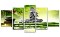 Wholesale bamboo wall panels - 5 Pieces Canvas Painting figure Of The Buddha Wall Art Painting Bamboo Background Wall Art For Home Decor With Wooden Framed Gifts