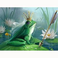 Wholesale frog animal figures for sale - 5D Diy diamond painting diamond embroidery home decoration landscape mosaic rhinestone painting lotus leaf frog arrow lotus