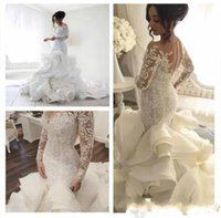 Wholesale laced fitted bride dresses for sale - Group buy Glamorous Tiers Ruffle Organza Mermaid Wedding Dresses Fitted Sheer Lace Country Long Sleeve Bridal Gown Arabic Train Bride Dress Custom