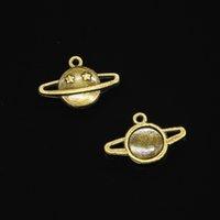 colar de estrela de bronze venda por atacado-120 pcs Antique Bronze Banhado planeta estrela Encantos Pingente fit Pulseira Colar de Jóias DIY Fazendo Acessórios 13 * 20mm