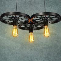 Wholesale Large Bulb Pendant Light - Vintage Antique Metal Art Large Barn Wheels Hanging Pendant Light With 3 Light Head