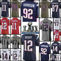 Wholesale football 14 - Men's 12 Tom Brady Patriots Jersey 92 Harrison 87 Rob Gronkowski 11 Julian Edelman 14 Brandin Cooks Football Jerseys