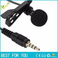 corbata larga clip al por mayor-Mini 3.5mm Jack micrófono Lavalier Tie Clip micrófonos con conexión de cable para conferencias Speech Speech teléfono móvil 1.5m cable largo