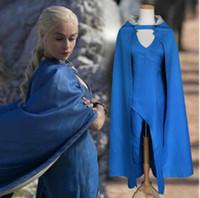 mavi kıyafetler toptan satış-Daenerys Targaryen cosplay parti Elbise kadın Cadılar Bayramı Kostüm Kadınlar Elbise Pelerin cosplay parti Mavi Elbise KKA5819