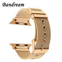 apfeluhr edelstahl schwarz großhandel-Milanese Uhrenarmband Apple Watch 38mm 42mm Edelstahlband Gewebegurt Handgelenk Gürtel Armband Rose Gold Schwarz Silber