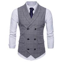 giletweste großhandel-Herren Weste British Casual Suit Weste Männlich Zweireiher Weste Mann Herren Tops Kleidung Kleid Slim Fit Gilet Homme