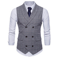 Wholesale double standard clothing resale online - Men s Vest British Casual Suit Waistcoat Male Double Breasted Vest Man Mens Tops Clothing Dress Slim Fit Gilet Homme