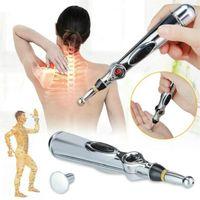 sağlıklı toptan satış-Yeni Elektronik Akupunktur Kalem Güvenli Meridyen Enerji Kalem Heal Masaj Vücut Baş Boyun Bacak Sağlık Massageadores (Yok Krem pil)