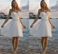 Wholesale knee length wedding dresses online - High Quality Sweetheart Rhinestone Tulle Casual Beach Wedding Dresses A Line Short Bridal Gowns