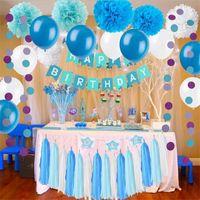 kağıt mendil çelenk toptan satış-DIY Parti Süslemeleri Set Parti Malzemeleri Se Kağıt Çiçekler Dahil Doku Püskül Garland Parti Balonlar Doğum Günü Düğün Bebek Showe için