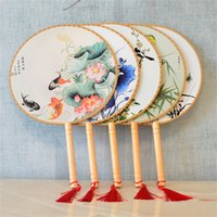 Wholesale traditional wedding bag resale online - Retro Wooden Handle Round Fan Traditional Craft Chinese Silk Dancing Fans For Women Performance Dance Props mq Z