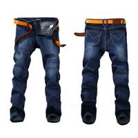 знаменитые джинсы оптовых-Мода Весна Стрейч Джинсы Плюс Большой Размер 29 -44 46 48 Прямые Джинсы Мужчины Известный Бренд Джинсы Мужские Дизайнерские Джинсы