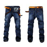 ünlü marka erkekler kot pantolon toptan satış-Moda Bahar Streç Kot Artı Büyük Boy 29 -44 46 48 Düz Kot Erkekler Ünlü Marka Kot Erkek Tasarımcı kot