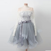 Wholesale petite cocktail dresses online - 2018 Long Sleeve Sheer Neck Short Party Dresses Lace Top Tulle Homecoming Piping Ribbons Dress Zipper Back Cocktail Dresses