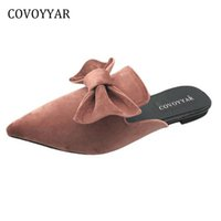 Wholesale e bow - COVOYYAR Bow Mules Slippers 2018 Spring Autumn Fashion Pointed Toe Women's Sandals Flat Women Slides Shoes WSS298
