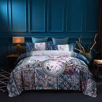 ingrosso set di seta cinese set-Luxury Silk Egypt Cotton Brocade Set biancheria da letto classica cinese Stampa digitale Copripiumino Lenzuolo Federa Queen King size