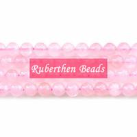 piedras de cuarzo sueltas al por mayor-NB0003 Venta al por mayor de piedra natural DIY pulsera de alta calidad de cuarzo rosa piedra suelta 8 mm Beass redondo para hacer joyería