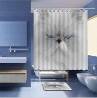 alfombras impermeables al por mayor-Precioso gato en el baño cortinas de ducha diseño personalizado Creative cortina de ducha baño impermeable poliéster tela esteras alfombra