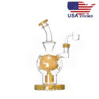 Wholesale usa pipes - USA Stocked CCG Exosphere Glass Water Pipes Glass Bongs with Seed of Life Perc thick base 14.5mm female joint 9 inch Height