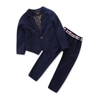 Wholesale Wholesale Boys Blazers - Children Boys Suits Two Piece Sets Blazers and Trousers Long Sleeve Gentleman Style Cotton Kids Clothing