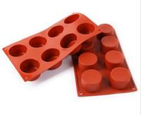 cupcake redondo venda por atacado-8 buracos redondos silicone molde do bolo 3d handmade cupcake geléia biscoito mini muffin fabricante de sabão diy ferramentas de cozimento
