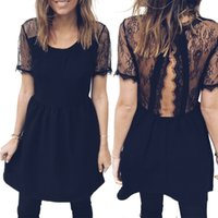 Wholesale Night Club Tops - 2018 Hot Dress Women Sexy Solid Color Lace Stitching Dresses Slim Short Sleeve Skirt Tops RF0867