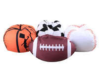 Wholesale football beds - 4 Colors 18 inch Football Basketball Baseball Storage Bean Bag Baby Stuffed Animal Plush Pouch Bag Organizer Beanbag CCA9413 50pcs