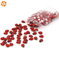 Wholesale ladybug stickers - Mini 1Pack=200PCS Self-adhesive Red Wooden Ladybug Sponge Stickers Cute Baby Fridge Magnets For Home Decoration Scrapbooking