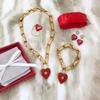 подвески для девочек оптовых-Новая Мода Женщины Ожерелье Браслет Позолоченные Сердце Кулон Ожерелье для Девушки Женщин для Партии Свадьбы Хороший Подарок