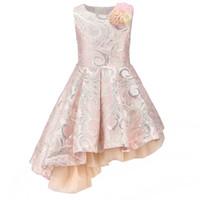 vestidos de graduación año al por mayor-Fancy Pink Flower Apliques Gorgeous Brocade Girl Graduation Party Dresses para niños Ropa de niña Bisel Dobladillo 3-10 años