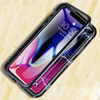 Wholesale Luxury Double Side Magnetic Adsorption Flip Case for iPhone Pro XS MAX XR Plus Tempered Glass Back Cover for Samsung S9 S10 Hard Case