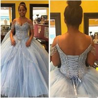 Wholesale maternity dresses for special occasions - Newest Off The Shoulder Ball Gown Quinceanera Dresses Lace Applique Lace-up Long For Special Occasion Prom Dresses