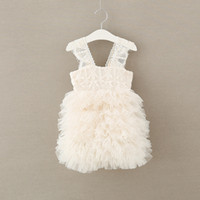 Wholesale baby girls tiered lace tutu resale online - Baby girls tiered Tulle dress suspender Children TUTU Lace Net yarn princess dresses Boutique Kids Ball Gown C3821