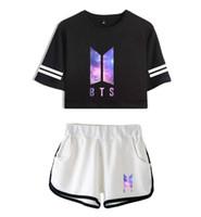 camisas regulares para mulheres venda por atacado-Mulheres Duas Peças Treino Calças BTS Sky Imprimir Curto T-shirt de Manga Curta Ternos Femininos Sportswear Ativo Conjuntos de Dança Shorts Outfits