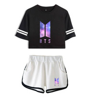 Wholesale white short pants outfits resale online - Women Two Pieces Tracksuits Pants BTS Sky Print Short Sleeved T shirt Shorts Suits Female Active Sportswear Dancing Sets Shorts Outfits