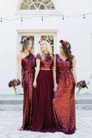 venta de vestido de dos piezas al por mayor-2019 Top venta Borgoña con lentejuelas vestidos largos de dama de honor Lentejuelas vestido de dama de honor Estilo rural Dos piezas Tulle Wedding Party Invitado vestidos