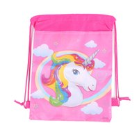Wholesale Back Bag Kids - Wholesale-24pcs Festive Party Supplies Unicorn Drawstring Bag Children's Day,Birthday Party Favors Kids Back to School Gifts