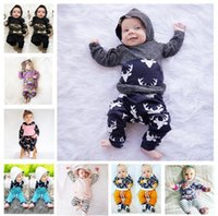 Wholesale 12 month girl coat - Baby Clothes set Ins Boys Outfits Girls Floral Suits Kids Coat Pants Floral Striped Fashion Long Sleeve Hoodies Pants Kid Clothing KKA4081
