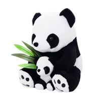 Wholesale Wholesale Panda Bear Plush - 25CM 33CM Sitting Mother & Baby Panda Plush Toys Soft Stuffed Dolls Pillows Kids Toy Gifts @ZJF