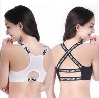Wholesale Sports Bra Spandex - Fashion Love Pink Women's Sports Bra Seamless Comfortable Top Underwear Fitness Wear Sports Bras Vest 4 Style