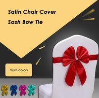 silla de banquete de boda cinta al por mayor-Cubierta de la silla de satén Sash Bow Tie Ribbon Decor Suministros para banquetes de boda Silla de satén Fajas para banquete de hotel Deocor Supplies