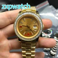 relogios mecânicos quadrados venda por atacado-Relógios de diamante de ouro de alta qualidade relógios de marca de moda masculina Relógios de diamante de ouro de aço inoxidável de coluna de alta qualidade